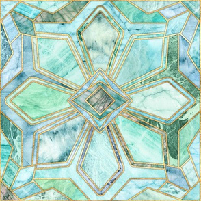 Geometric Gilded Stone Tiles in Mint and Jade Green