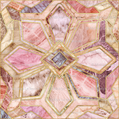 Geometric Gilded Stone Tiles in Blush Pink, Peach and Coral