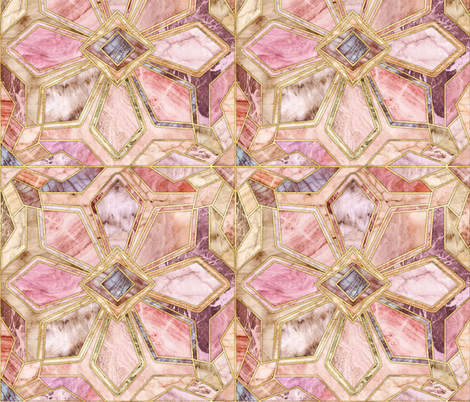 Geometric Gilded Stone Tiles in Blush Pink, Peach and Coral fabric by micklyn on Spoonflower - custom fabric