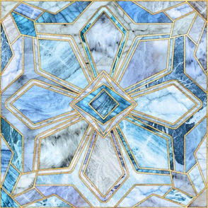 Geometric Gilded Stone Tiles in Soft Blues