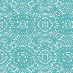 Lace-like Design | White on Teal - horizontal