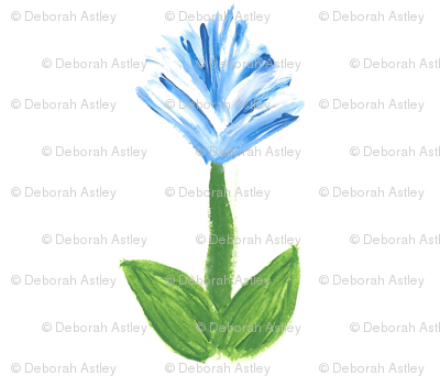Feather Flowers in Blue