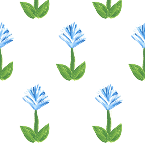 Feather Flowers in Blue fabric by anniedeb on Spoonflower - custom fabric