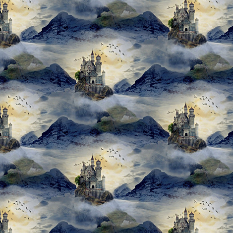 castle and birds fabric by stofftoy on Spoonflower - custom fabric