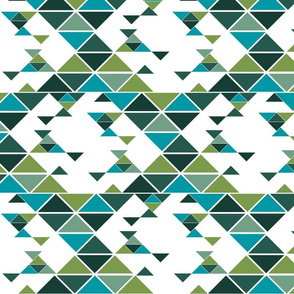 Triangles of different sizes in a x shape pattern with green earth tones