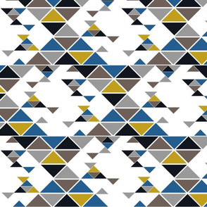 Triangles of different sizes in a x shape pattern with navy blue and mustard