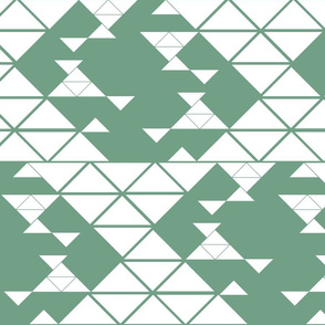 Triangles of different sizes in a x shape pattern with green background