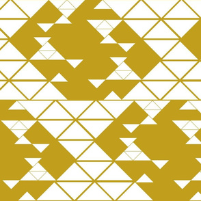 Triangles of different sizes in a x shape pattern with mustard background