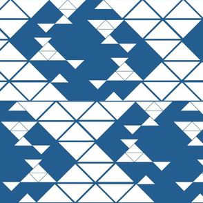 Triangles of different sizes in a x shape pattern with navy blue background