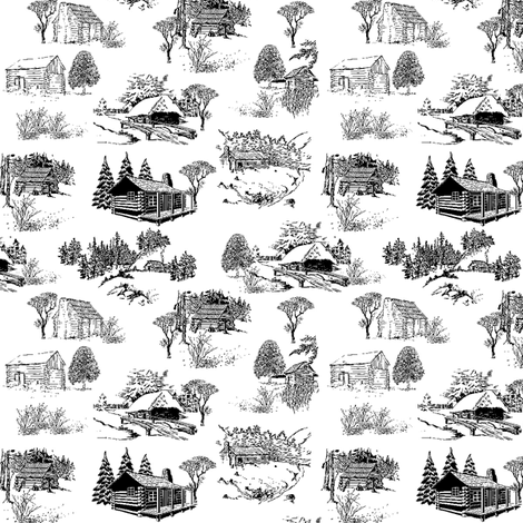 log cabin scene - toile fabric by stofftoy on Spoonflower - custom fabric