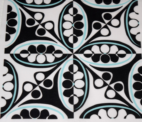 Counterchange Ovals and Circles Black White and Aqua