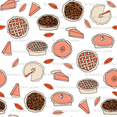 pies // pumpkin pie pecan pie cherry pie autumn fall leaves baking thanksgiving food kitchen print