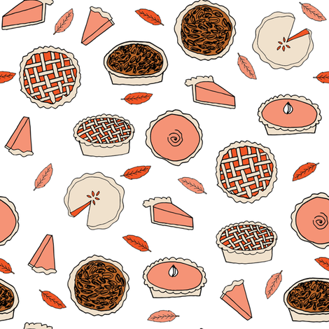 pies // pumpkin pie pecan pie cherry pie autumn fall leaves baking thanksgiving food kitchen print fabric by andrea_lauren on Spoonflower - custom fabric