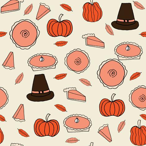 pumpkin pie // pumpkins pie autumn fall baking kitchen pumpkins thanksgiving food fabric by andrea_lauren on Spoonflower - custom fabric
