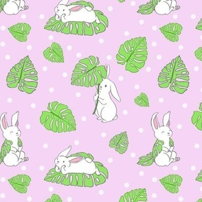 Bunnies with Monstera Leaves