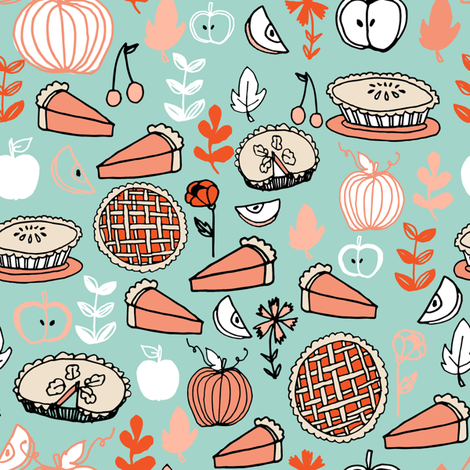 pie // pumpkin baking kitchen thanksgiving baking food flowers leaves fabric by andrea_lauren on Spoonflower - custom fabric