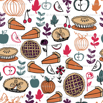pies // fall thanksgiving pie pumpkin pie food autumn baking leaves illustration thanksgiving