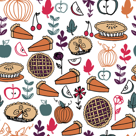 pies // fall thanksgiving pie pumpkin pie food autumn baking leaves illustration thanksgiving fabric by andrea_lauren on Spoonflower - custom fabric