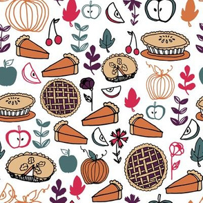 pies // fall thanksgiving pie pumpkin pie food autumn baking leaves illustration thanksgiving