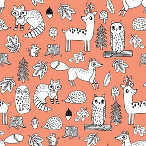 autumn animals // deer owl fox raccoon leaves autumn fall kids peach coral