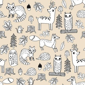 autumn animals woodland // off-white cream sand kids acorn owl deer fox raccoon owls acorns kids fall autumn