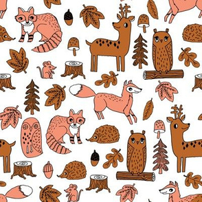 autumn animals // woodland forest kids acorns woodland log hedgehog autumn leaves brown peach coral kids cute autumn
