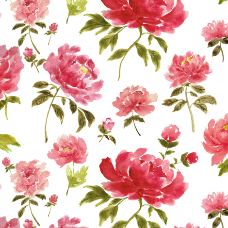 Watercolor peonies fabric by mintpeony on Spoonflower - custom fabric