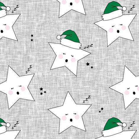 sleepy stars || holiday green hat fabric by littlearrowdesign on Spoonflower - custom fabric