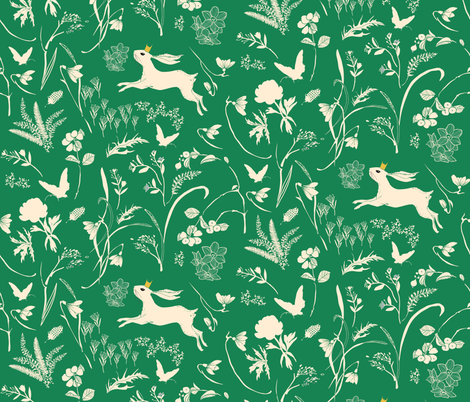 Enchanted Bunny Prince (emerald) MED fabric by nouveau_bohemian on Spoonflower - custom fabric