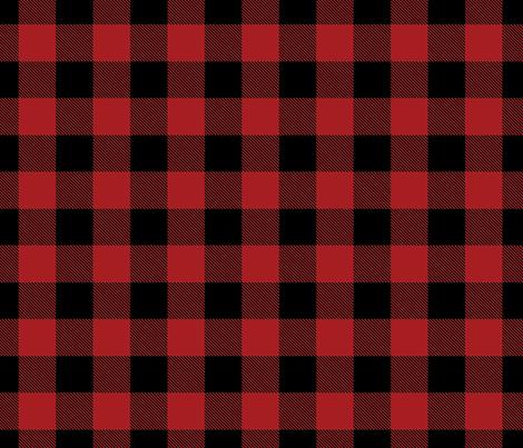 Buffalo Check Flannel Plaid Red Black fabric by sugarfresh on Spoonflower - custom fabric