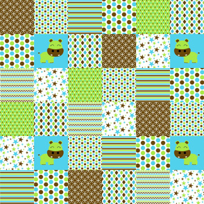 Cheater Quilt Faux Quilt Boy Hippo Green Brown Blue