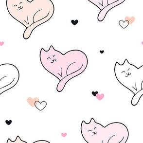 Cute and Happy Cat Hearts