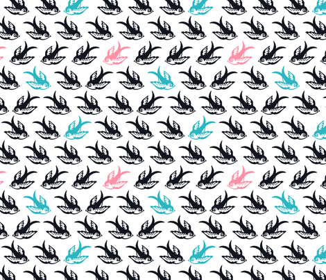 Birds in flight on white fabric by nossisel on Spoonflower - custom fabric