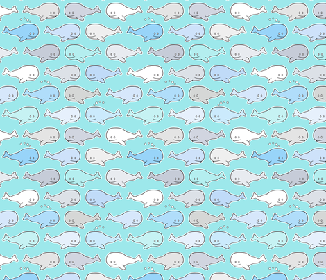 Cute happy baby whales fabric by nossisel on Spoonflower - custom fabric