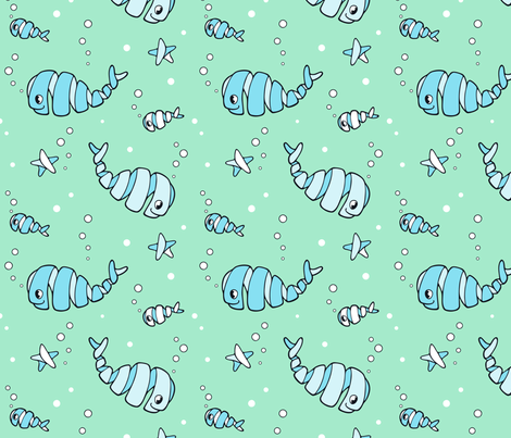 Cute happy whirly whales and fish fabric by nossisel on Spoonflower - custom fabric