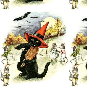 Halloween black cats bats moon clouds trees forests mouse mice rats witches hats violins violinists dancing  music musicians vintage retro kitsch