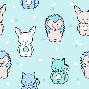 Happy squirrel bunny and hedgehog