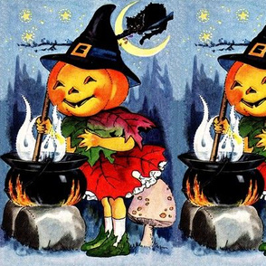Halloween pumpkins heads stars moon black cat forests trees mushrooms cauldrons pots spells potions festivals vintage girls children witches magic jack lanterns