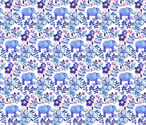 Little Purple Elephant Watercolor Floral on White fabric by micklyn on Spoonflower - custom fabric