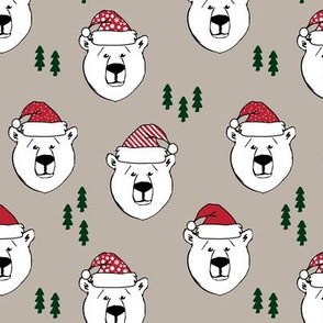 polar bear with hats || holiday - tan