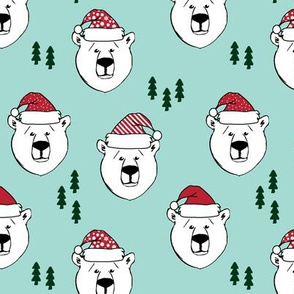 polar bear with hats || holiday