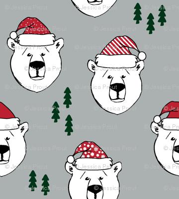 polar bear with hats || holiday - grey