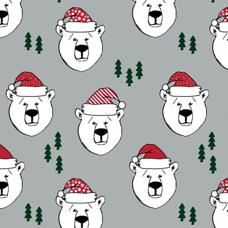 polar bear with hats || holiday - grey fabric by littlearrowdesign on Spoonflower - custom fabric