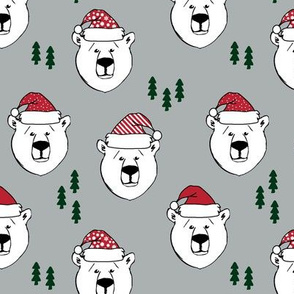 polar bear with hats || holiday - grey