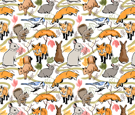 Woodland Creatures White fabric by vinpauld on Spoonflower - custom fabric