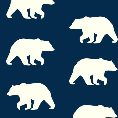 Bear Hike //Navy- Ivory bears fabric by buckwoodsdesignco on Spoonflower - custom fabric