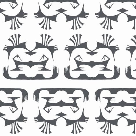 Island Tribal Print 2 Charcoal on White fabric by shi_designs on Spoonflower - custom fabric