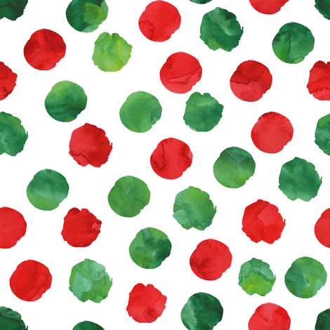 watercolor spots || red and green  fabric by littlearrowdesign on Spoonflower - custom fabric