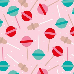 Candy shop sweet sugar popsicle lollipop party snack food print for kids pink