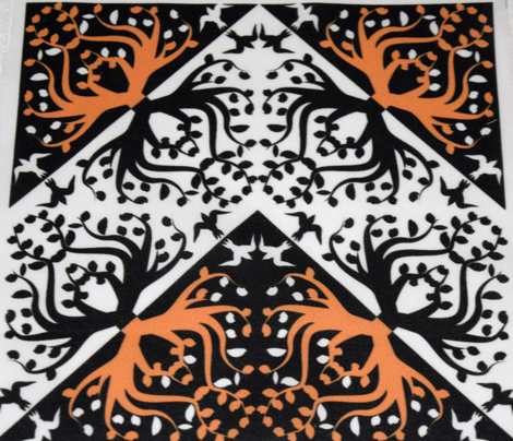Counterchange Tree Bird Orange and Black Chevron